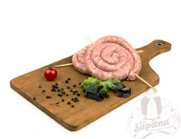 Rounded fresh sausages