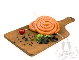 Rounded fresh sausages with paprika